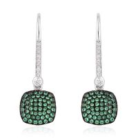 Simulated Green and White Diamond Sterling Silver Threader