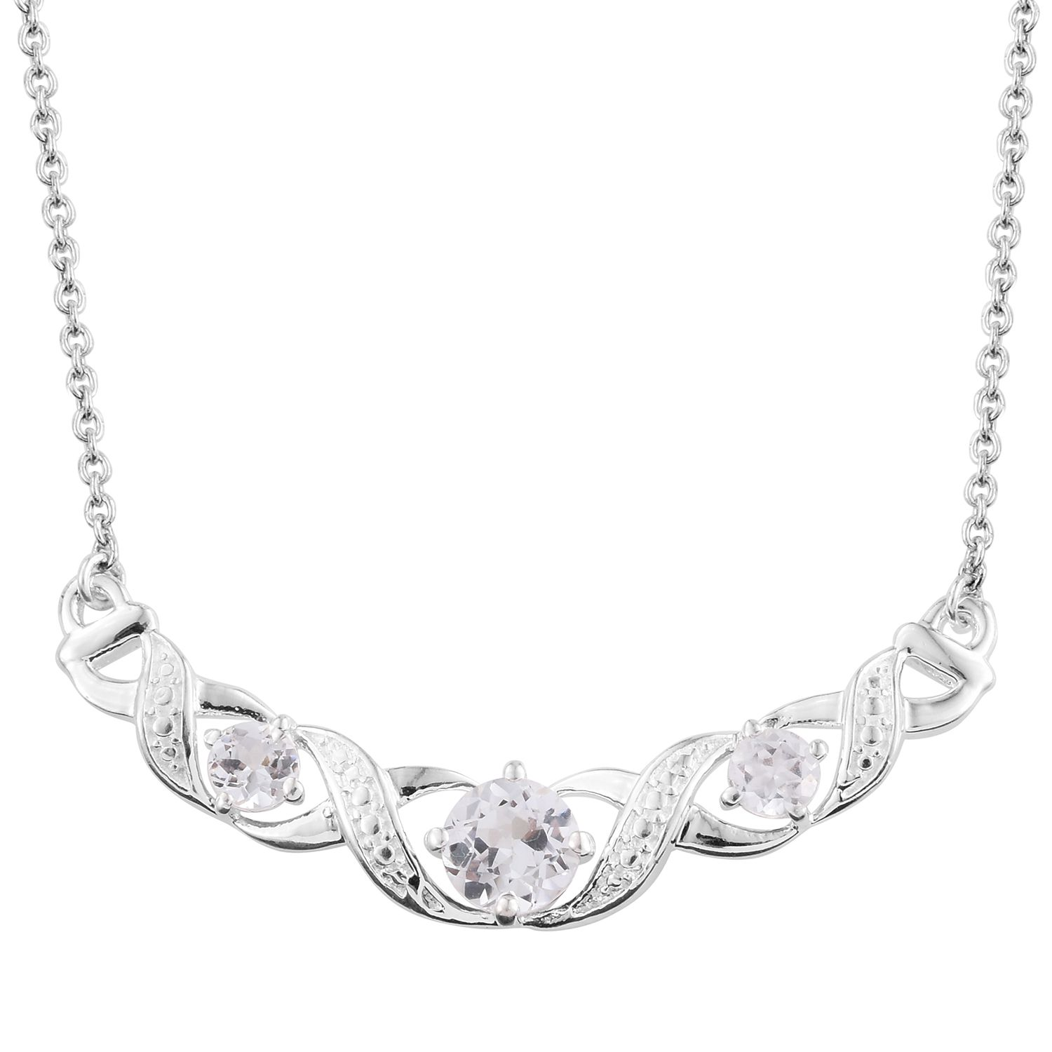 Lab Created White Sapphire Sterling Silver Bar Necklace With Stainless Steel Chain 20 In Tgw 1