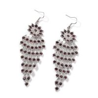 Purple Austrian Crystal Silvertone Chandelier Earrings and