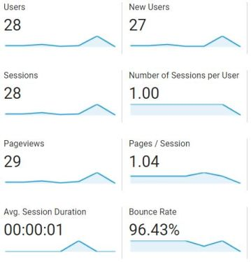 Google Analytics snapshot from January 19, 2019.  The website had 28 sessions and a 96.43% bounce rate.