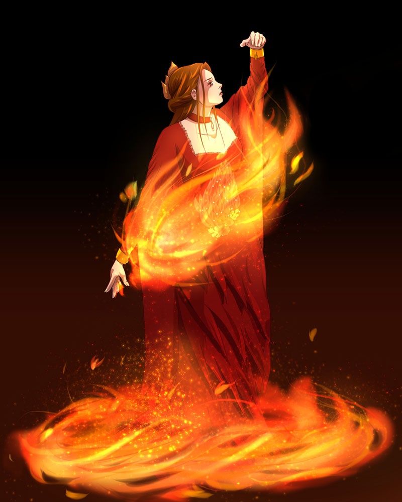Digital cell shaded painting of a woman unaffected by a flame she can't control.
