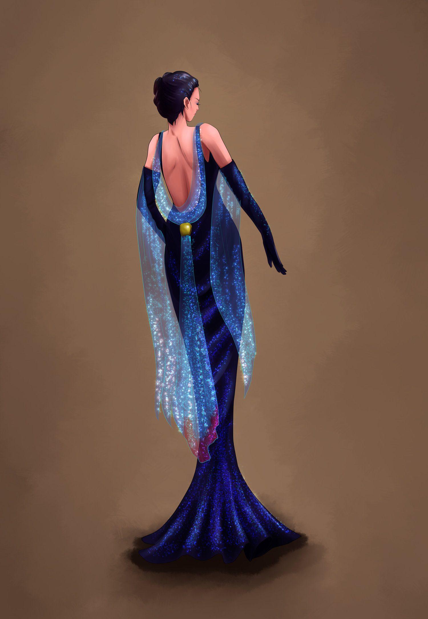 Nightshade Nora Glow-Up betta inspired dress made in Clip Studio Paint.