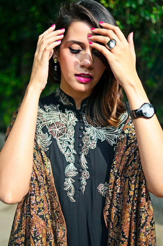 Indianwear | Gaurav Gupta Tribe at Jabong | shawl hands up front half