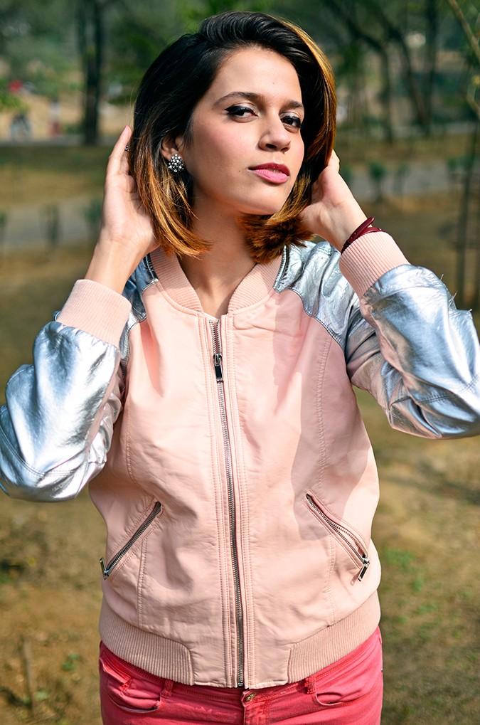 Space Cherry | Akanksha Redhu | front half jacket both hands up