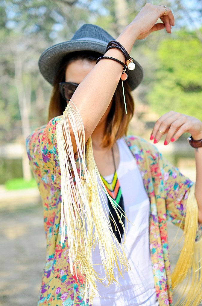 Hippie Kimono | Akanksha Redhu | half front arm in front of face