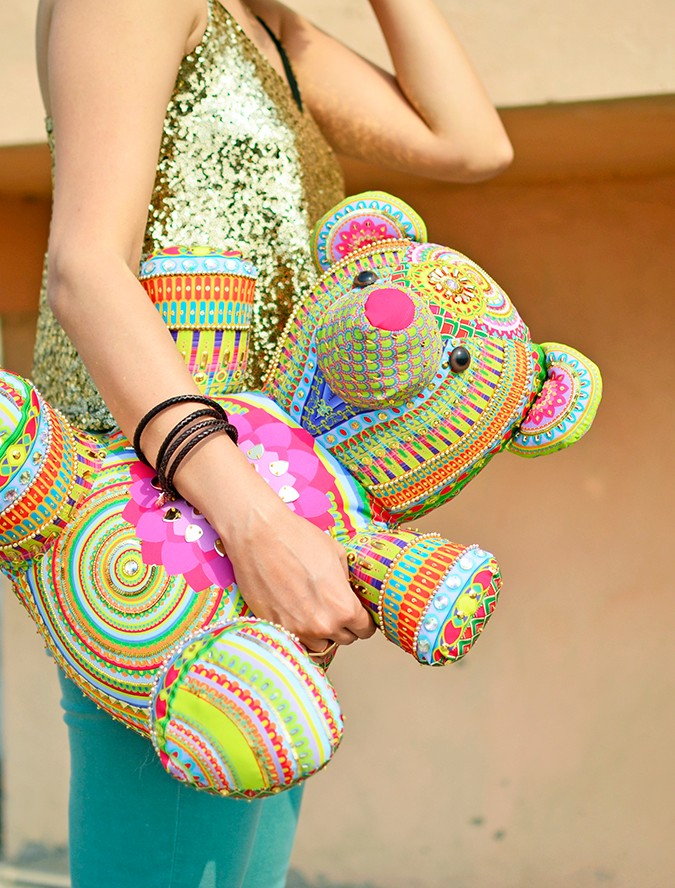 Manish Arora Teddy Bear | ExclusivelyIn | Akanksha Redhu | half side sequin