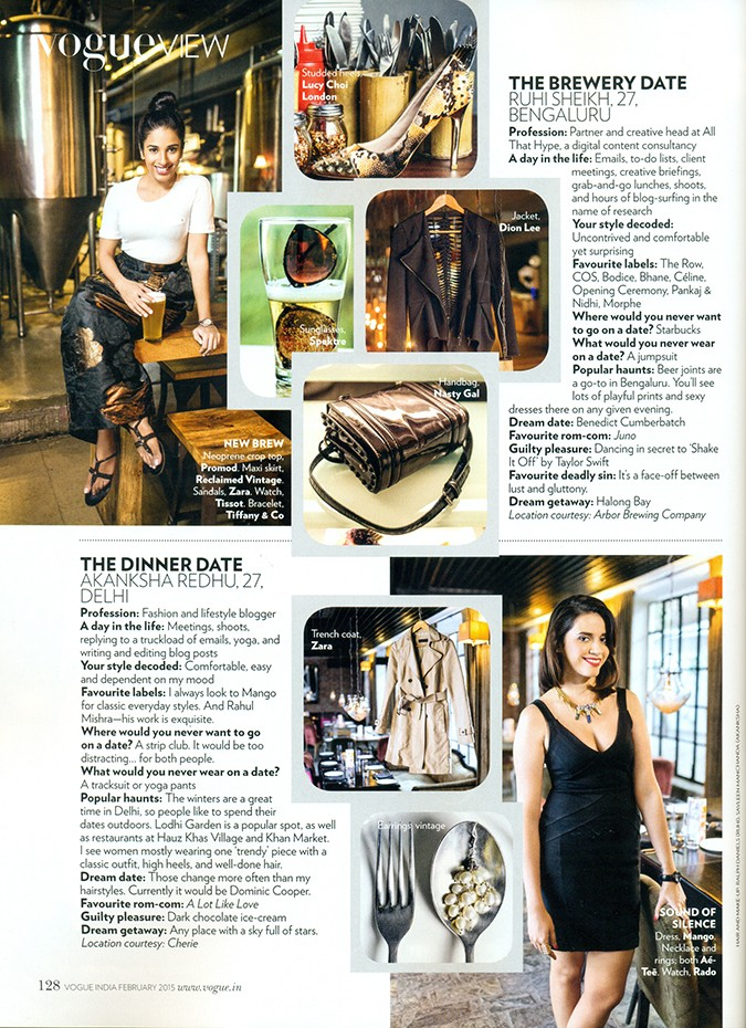 Vogue India | Feb 2015 | Akanksha Redhu | page feature