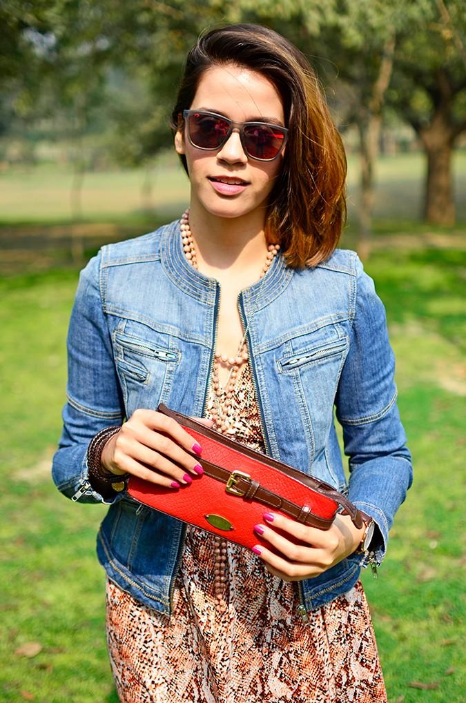 Denim + Animal Print | Akanksha Redhu | half front jacket wallet in front