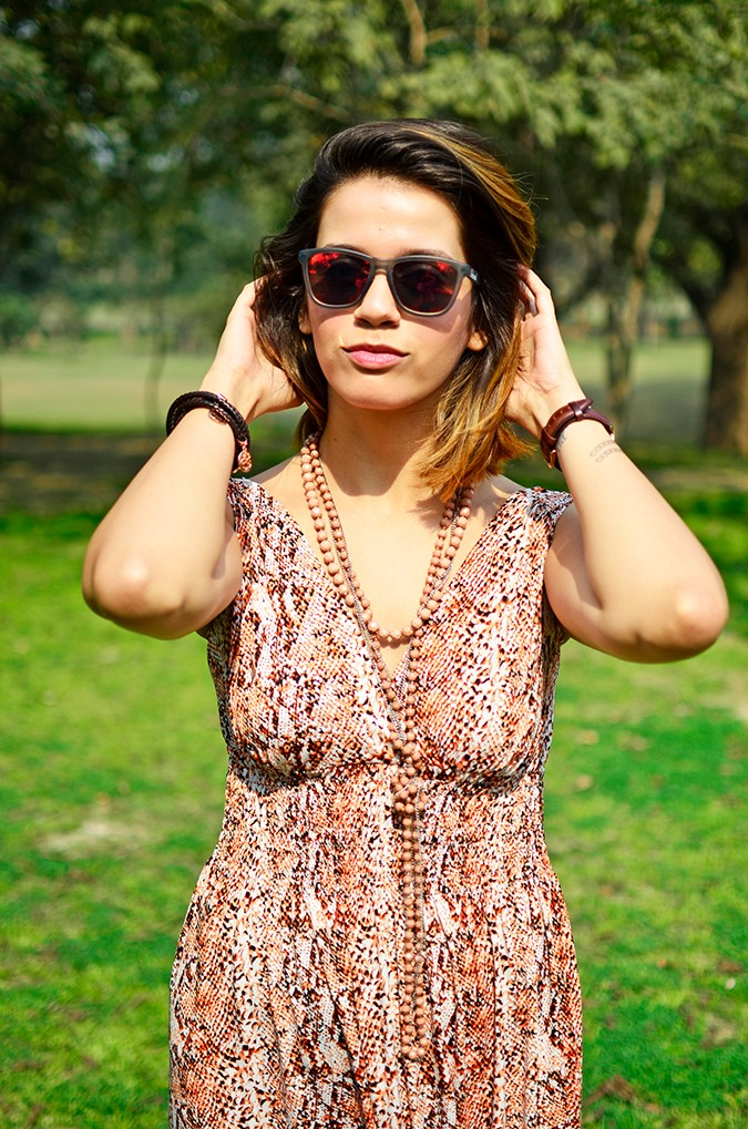 Denim + Animal Print | Akanksha Redhu | half front dress arms up