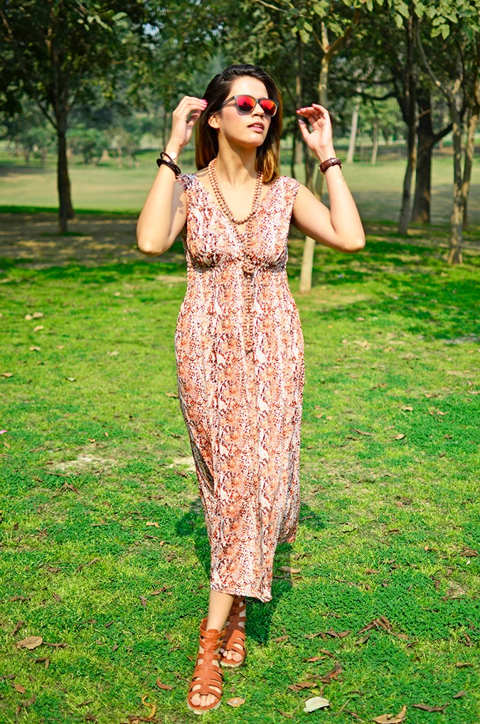 Denim + Animal Print | Akanksha Redhu | full front dress arms up