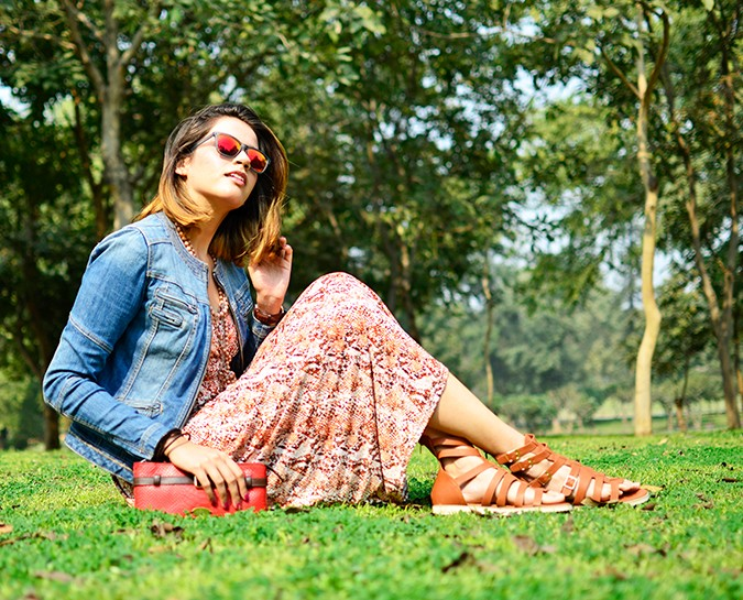Denim + Animal Print | Akanksha Redhu | sitting grass & sky