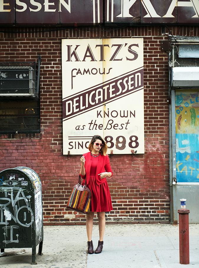 Katz's Delicatessen | #RedhuxNYC | outfit