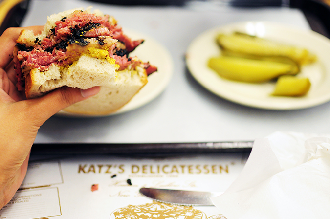 Katz's Delicatessen | #RedhuxNYC | in hand far