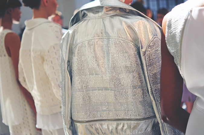 Daniel Silverstain | NYFW | Akanksha Redhu | back of silver jacket