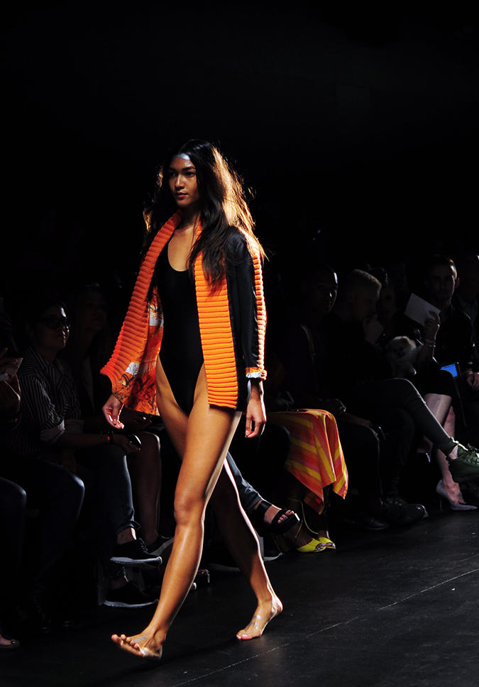 Francesca Liberatore | NYFW | #RedhuxNYC | blk swimsuit orange jacket