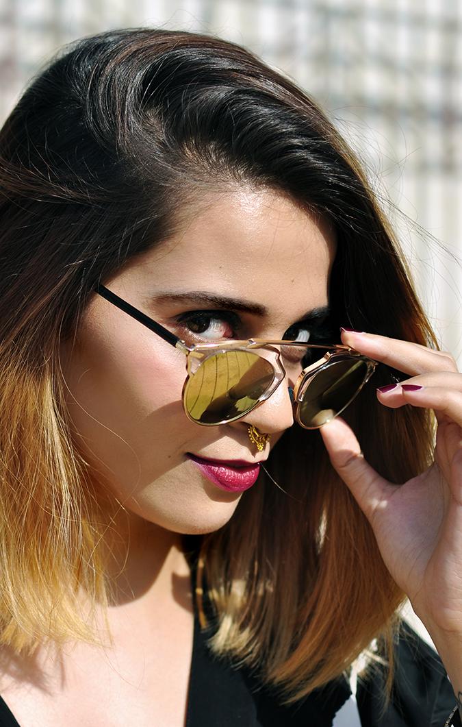 Kenneth Cole Look | #AIFWSS16 | Akanksha Redhu | face looking through glasses