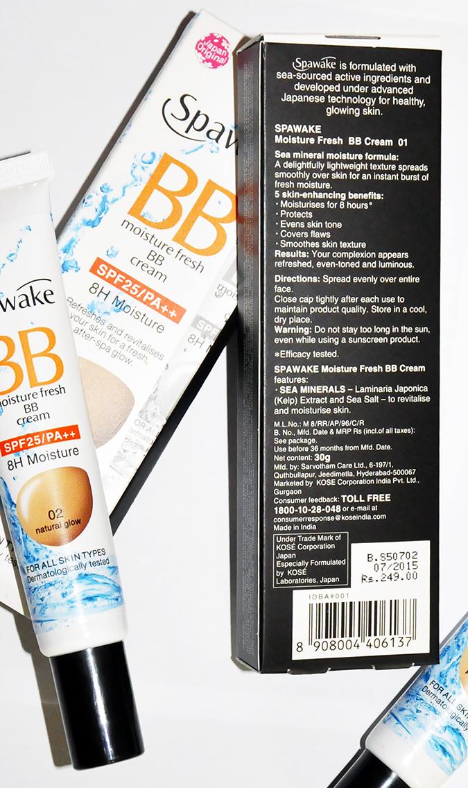 Spawake BB Moisture Fresh | BBcream | Akanksha Redhu | back of carton