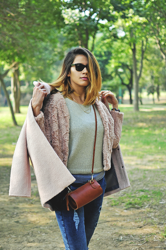 Warm n Fuzzy | Only India | Akanksha Redhu | half front all taking jacket off