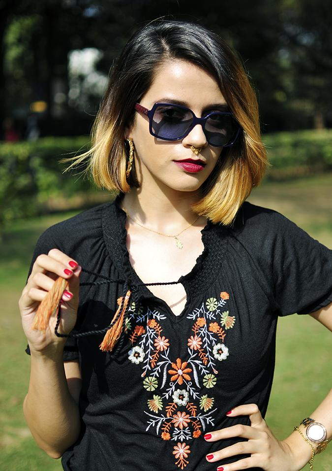 City Black | Sbuys | Akanksha Redhu | half front tugging tassel