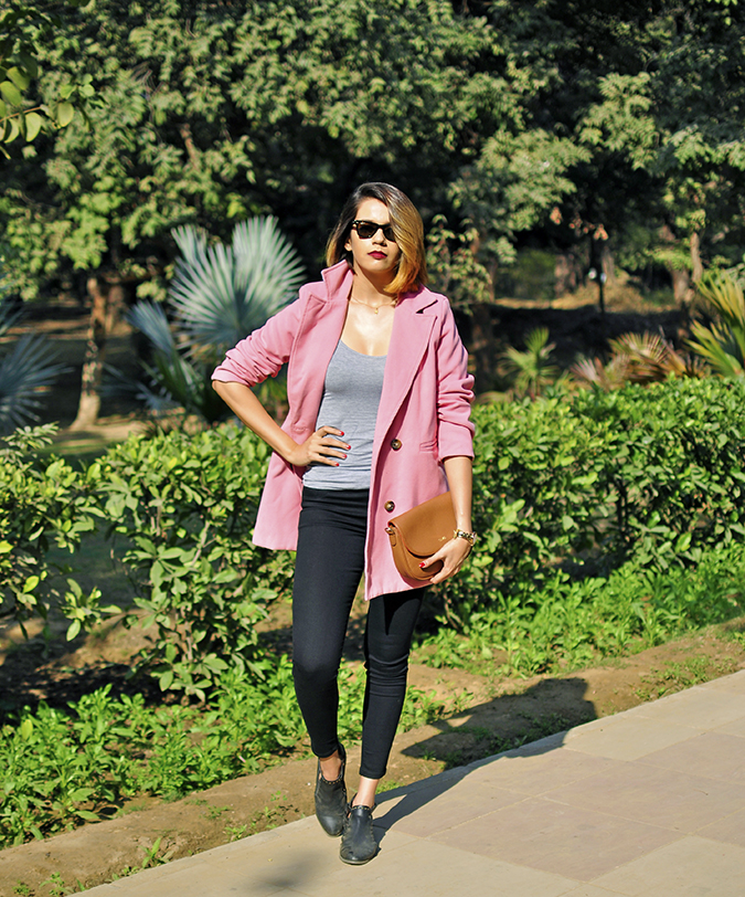 Fresh Pink | #ootd | Akanksha Redhu | full front arm on waist tee