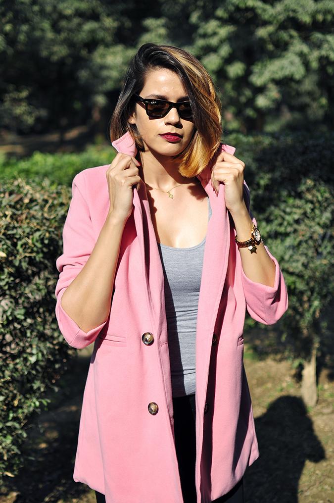 Fresh Pink | #ootd | Akanksha Redhu | half front holding both collars