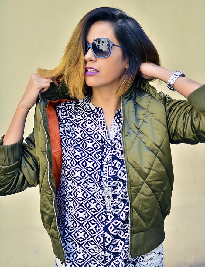 Print Life | Vero Moda | Akanksha Redhu | half front pulling jacket on top