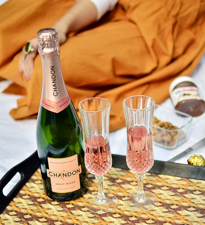 Valentine's Day Ready | Chandon India | Akanksha Redhu | bottle in tray standing
