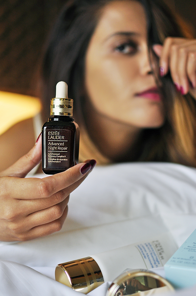 Estée Lauder | Akanksha Redhu | pillow holding serum