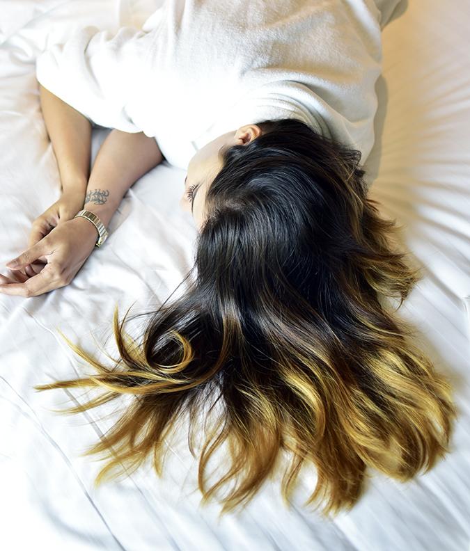 BBLUNT Salon Secret Hair Colour   Akanksha Redhu   before hair on bed