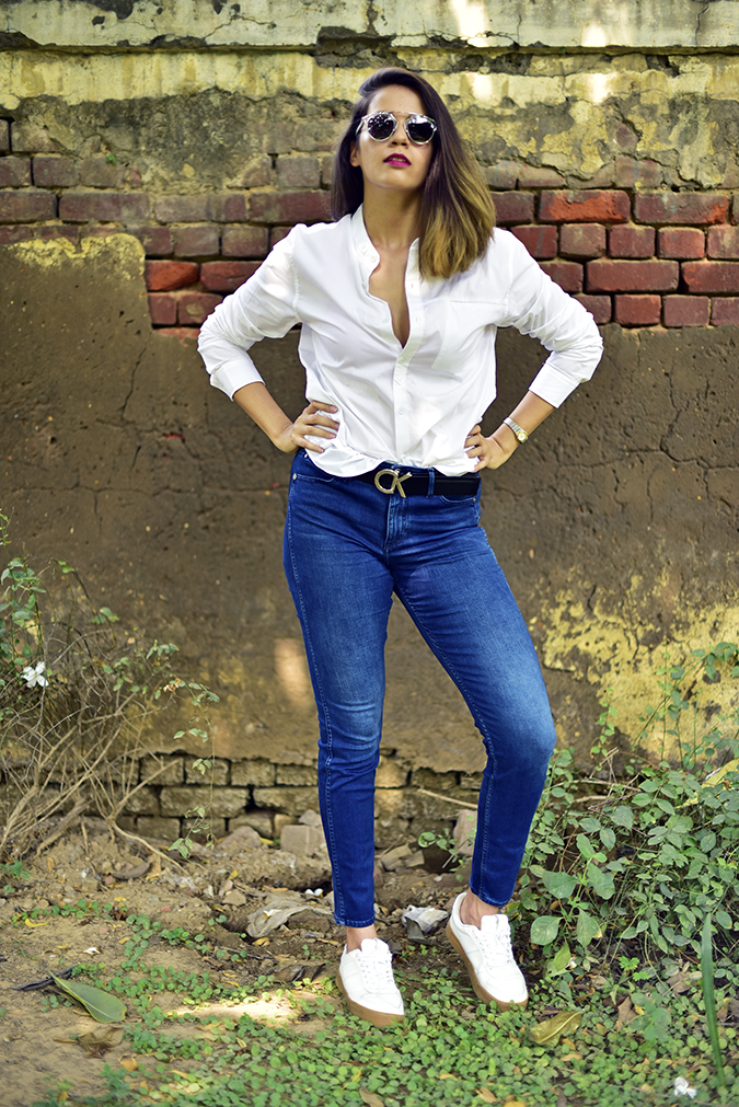 Calvin Klein   Akanksha Redhu   full front leg bent sideways arms on waist