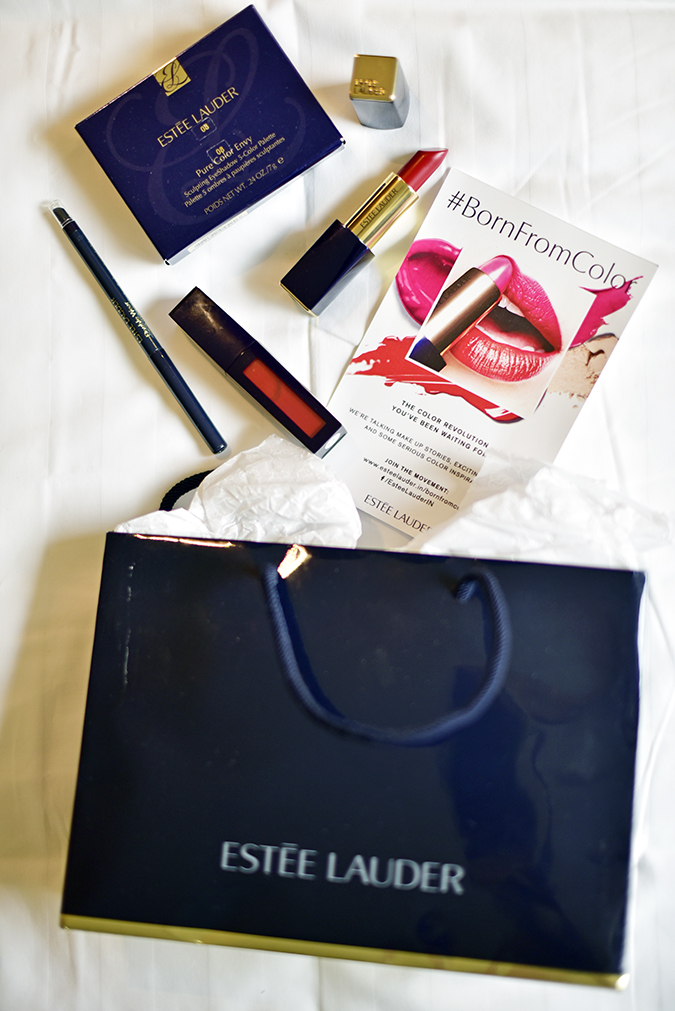 #BornFromColor | Estée Lauder | Akanksha Redhu | flatlay with goody bag