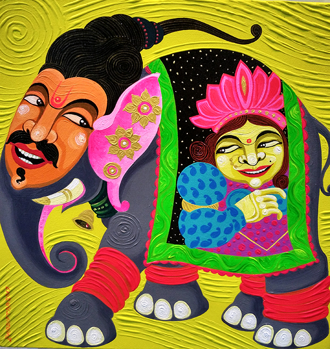 India Art Fair | Akanksha Redhu | faces on elephant