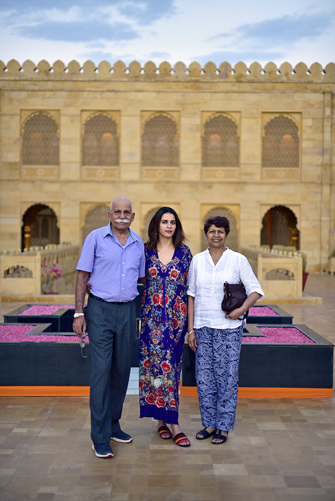 Suryagarh Jaisalmer | Akanksha Redhu | with mom dad cavalli dress