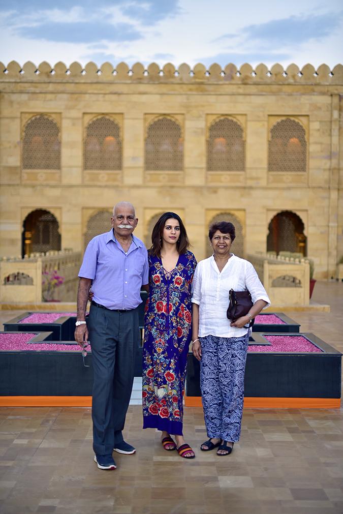 Suryagarh Jaisalmer | Akanksha Redhu | with mom dad cavalli dress