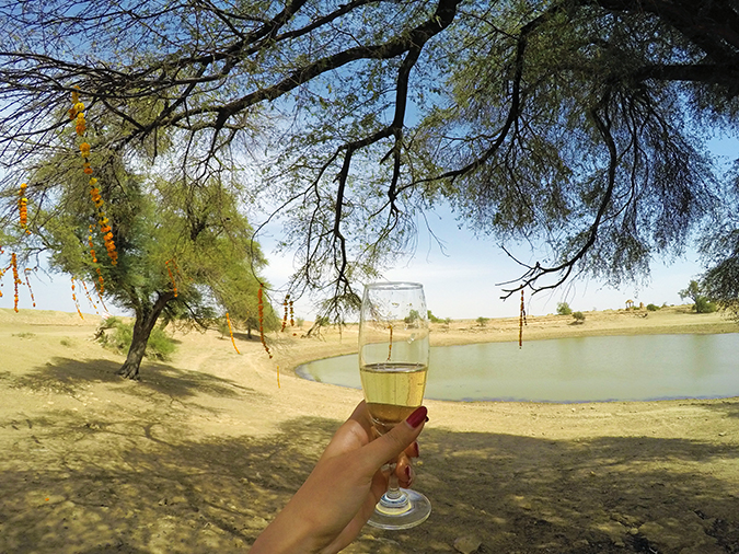 Suryagarh Jaisalmer | Akanksha Redhu | champagne by lake