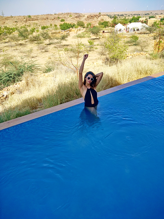 Suryagarh Jaisalmer | Akanksha Redhu | in pool phone