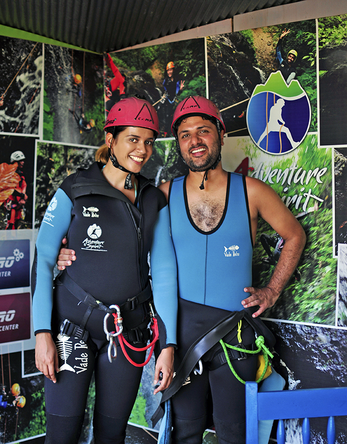 Canyoning in Bali | Akanksha Redhu | me and aman suited up proper