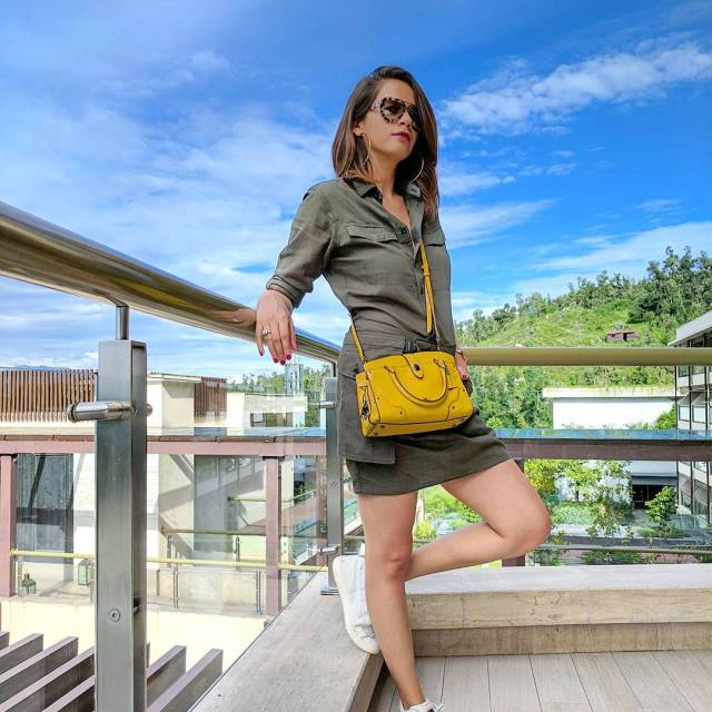 Unbeatable blue skies in Mussoorie Dress gstarraw Bag coach Shoeshellip