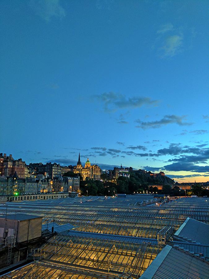 Edinburgh | Akanksha Redhu | station and lights post sunset