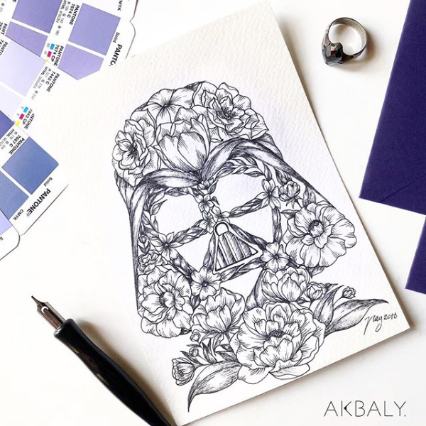 "Floral Illustration for ""Star Wars Day"" by Akbaly Prints Postcards Ink Watercolor"