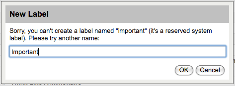 Can't create a Important Label in Gmail.