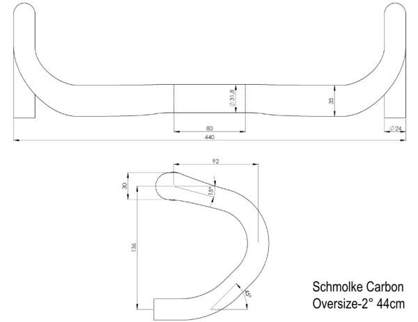 Kierownica szosowa Schmolke-Carbon Oversize Compact TLO