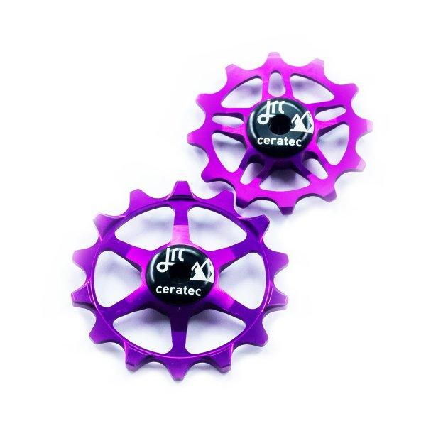 Kółka ceramiczne przerzutki JRC Components 14/12T do SRAM Eagle - fioletowe /purple/
