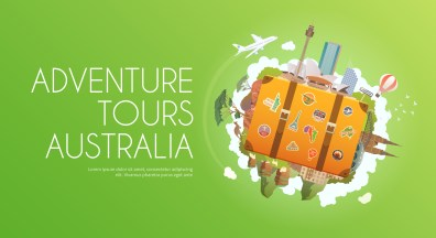 Travel to Australia. Road trip. Tourism. Old suitcase with landmarks. Advertising web banner. Modern flat design.