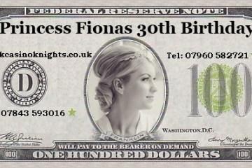 Princess fionas Birthday money Wadhurst casino hire