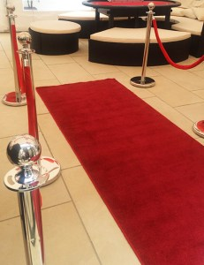 Red carpet and barrier pole hire