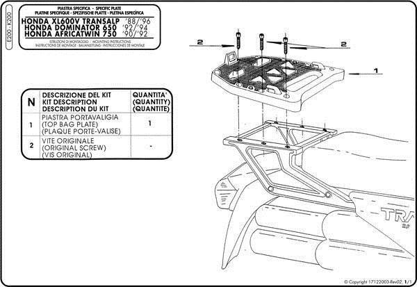 Stelaż kufra centralnego GIVI E200 z płytą MONOKEY HONDA