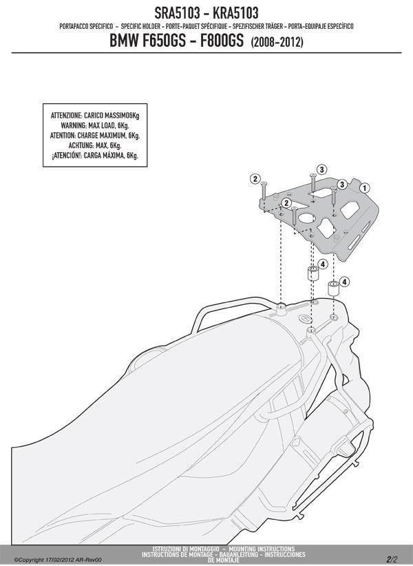 Stelaż kufra centralnego GIVI SRA5103 MONOKEY BMW F650 GS