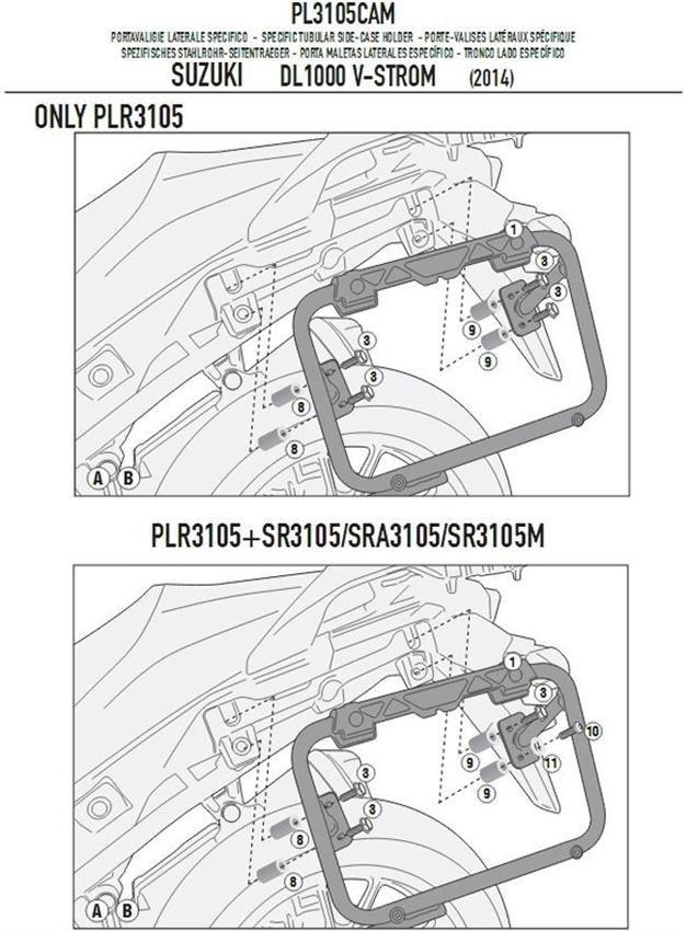 Stelaż kufrów bocznych GIVI PL3105CAM SUZUKI DL 1000 V