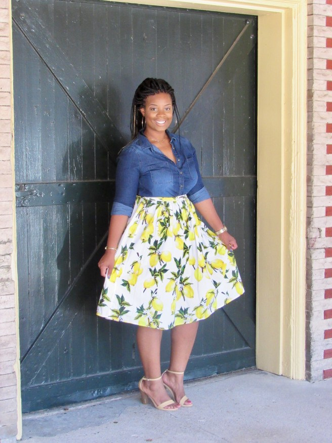 denim shirt and lemon skirt